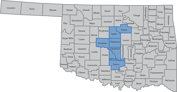 Oklahoma map of the counties with Circuit Engineering District 5 highlighted