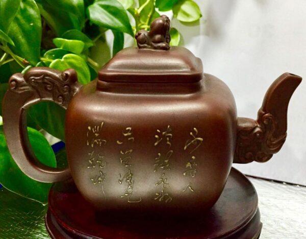 清代紫砂壺名家 陳鳴遠 大師 手工製 龍獅花蝶 老礦紫砂古董壺