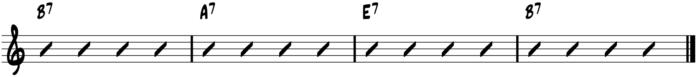 II-V-Fingerstyle Blues Turarnound Chord Progressions - V IV I