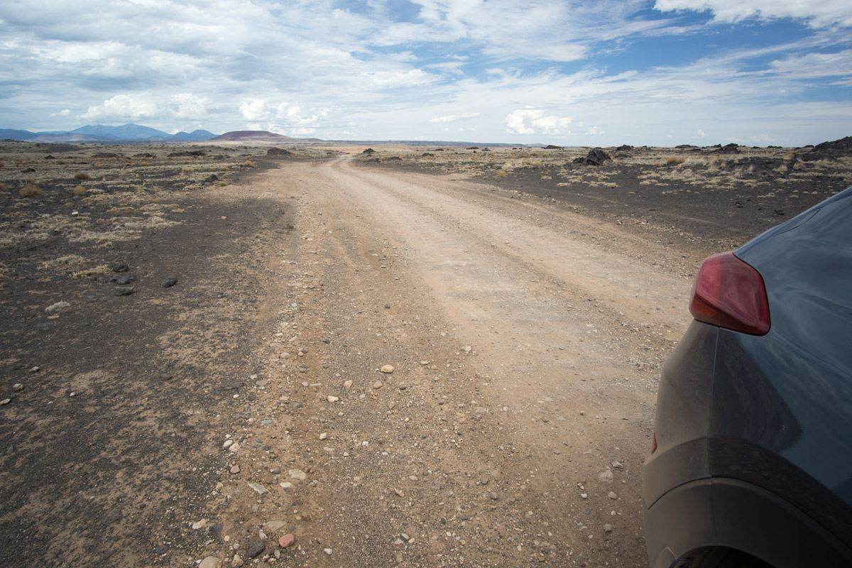 The road conditions of Grand Falls or Chocolate Falls in Arizona