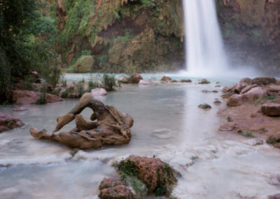 View of some of the smaller pools at the base of Havasu Falls.