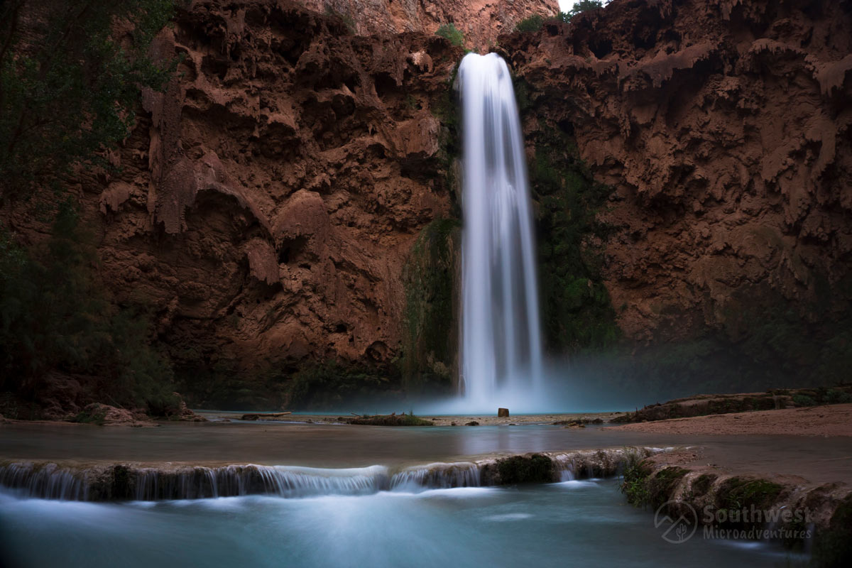Mooney Falls during first light of day. Before sunrise.