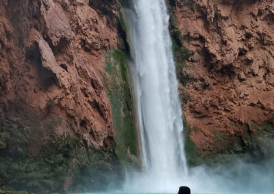 Shooting Mooney Falls from the side.