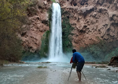Shooting Mooney Falls from the creek.
