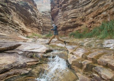 Hermit Canyon's slot canyon and waterfalls.