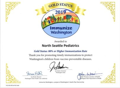 North Seattle Pediatrics has been honored with Gold Status!