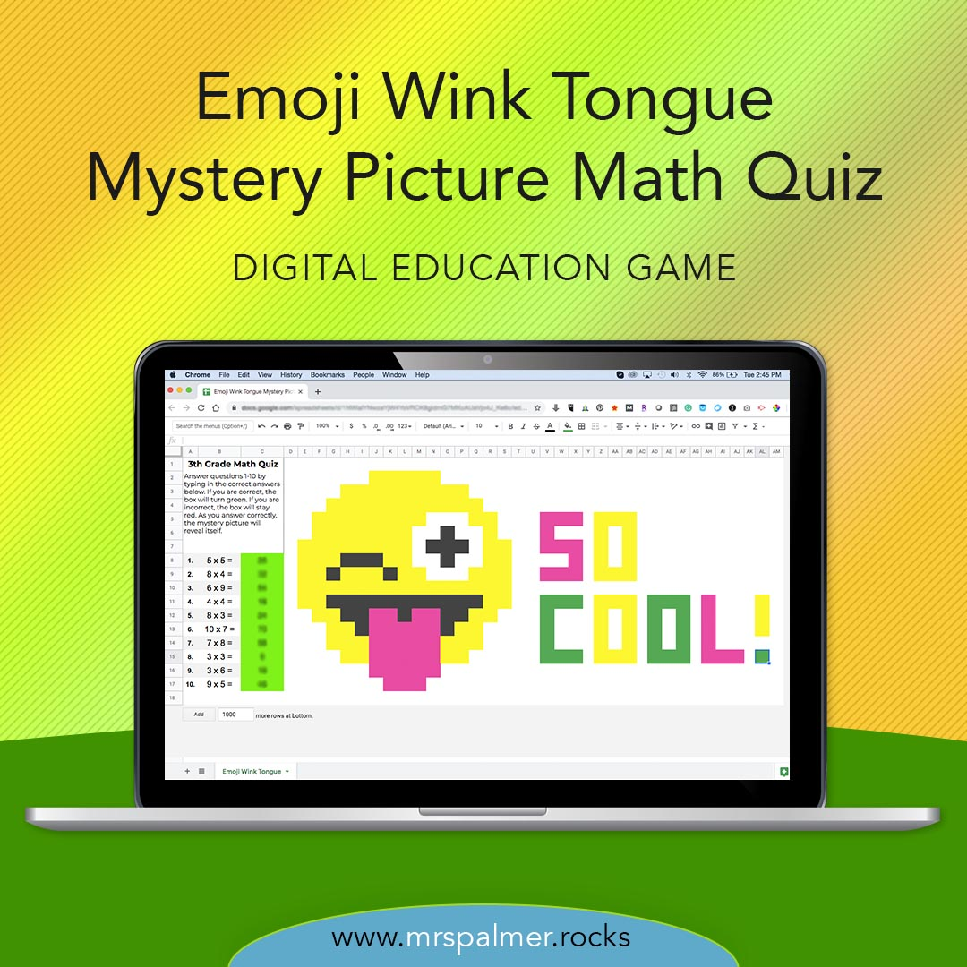 Emoji Wink Tongue Mystery Picture Math Quiz