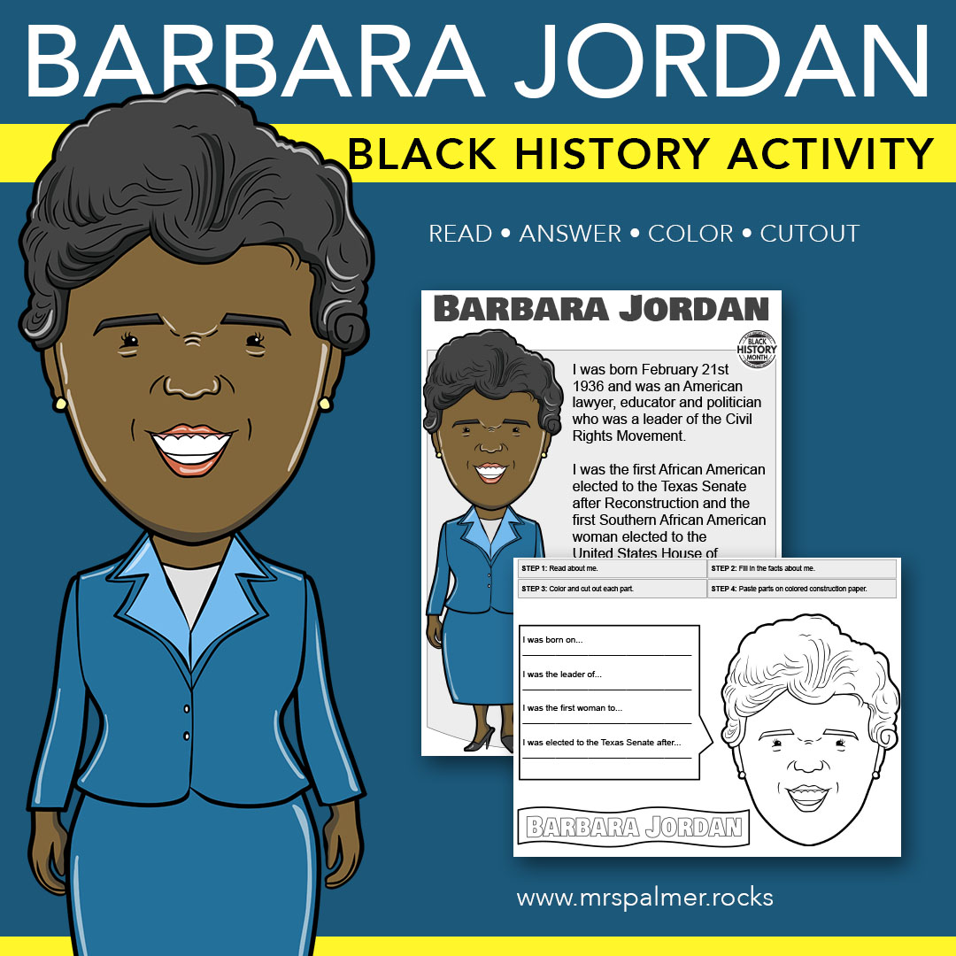 Barbara Jordan Big Head - Black History Activity