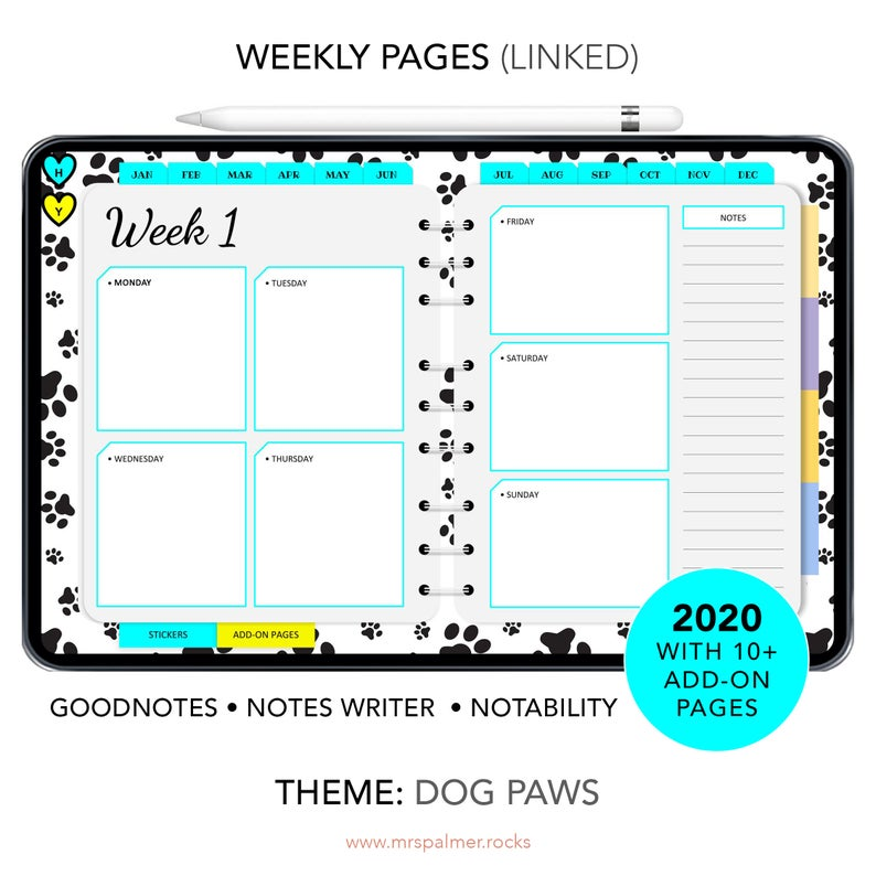 2020 Digital Planner Dog Paws Theme Images2