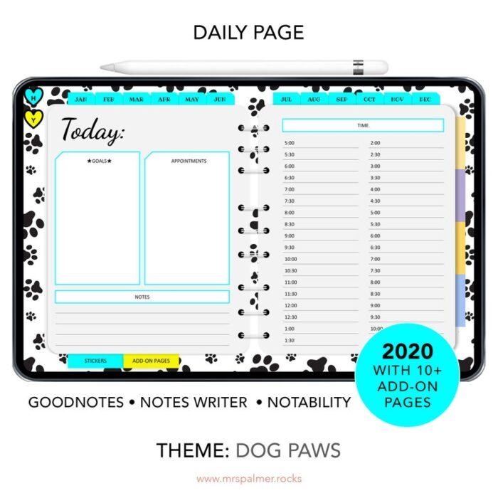 2020 Digital Planner Dog Paws Theme Images3