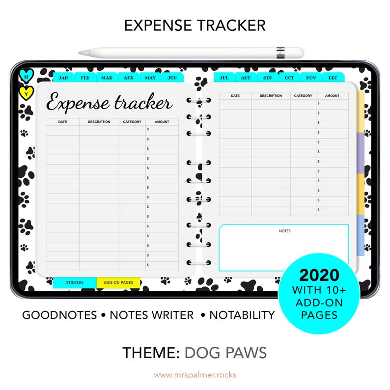 2020 Digital Planner Dog Paws Theme Images4