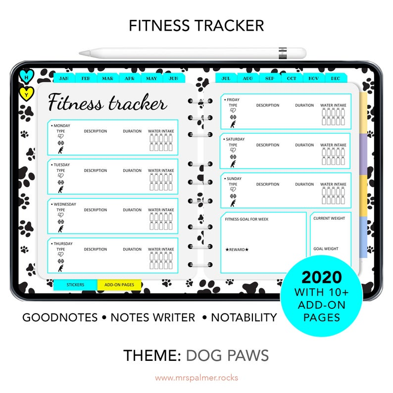 2020 Digital Planner Dog Paws Theme Images5