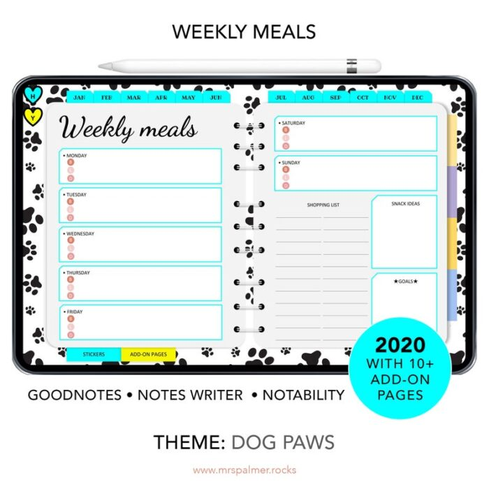 2020 Digital Planner Dog Paws Theme Images6