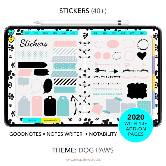 2020 Digital Planner Dog Paws Theme Images7