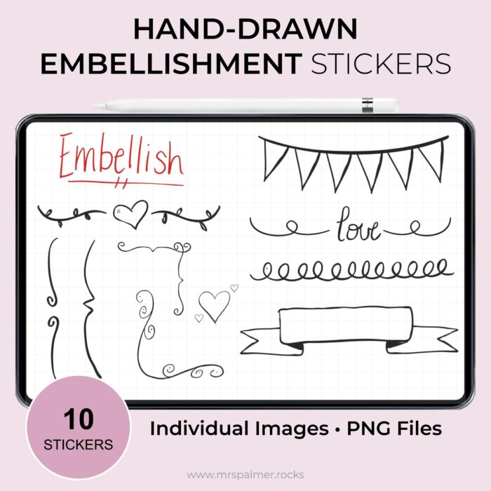 Hand-Drawn Embellishment Digital Stickers