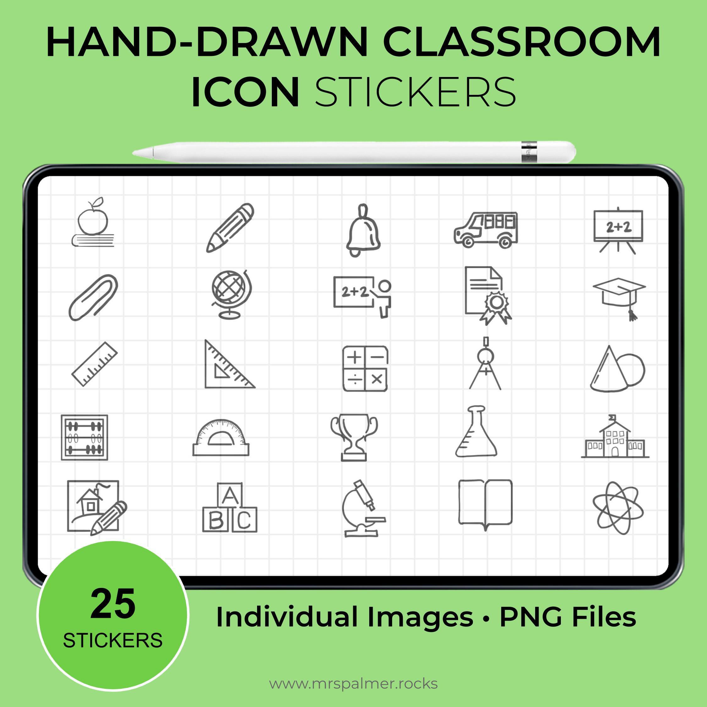 Hand-Drawn Classroom Icon Stickers