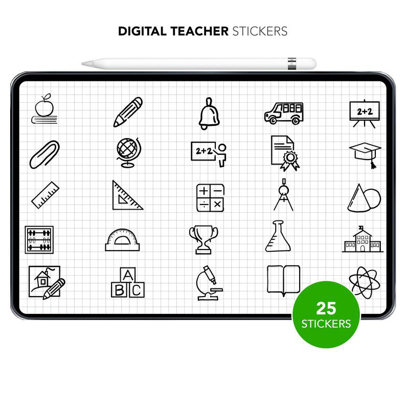 Hand-Drawn Classroom Icons Digital Stickers Img