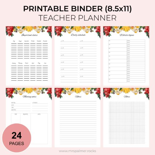 2020-2021 Printable Binder Teacher Planner - Floral Theme 2