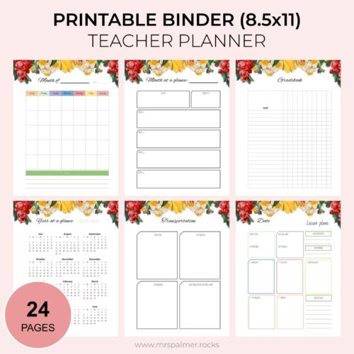 2020-2021 Printable Binder Teacher Planner - Floral Theme 1