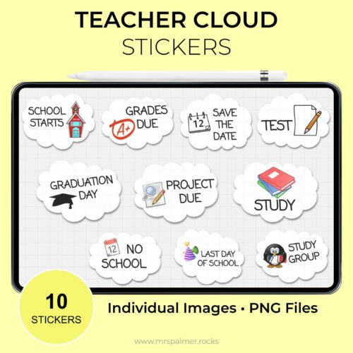 Teacher Cloud Sticker Set