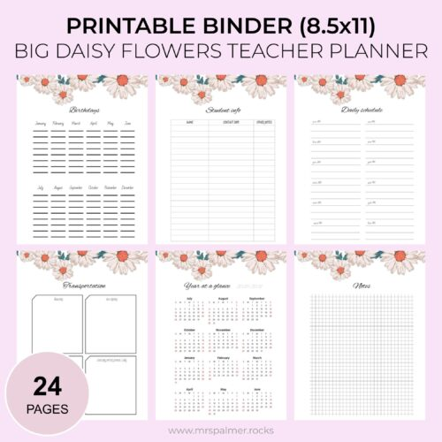 Big Daisy Flowers Printable Teacher Planner 2