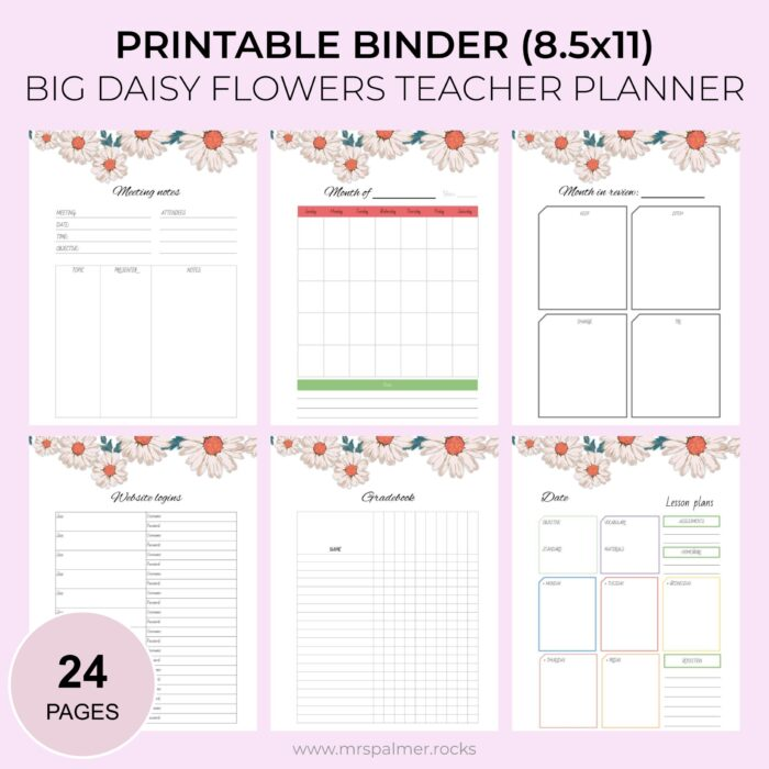 Big Daisy Flowers Printable Teacher Planner 1