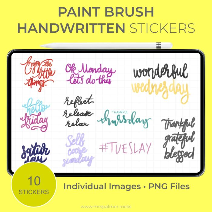 Paint Brush Handwritten Stickers