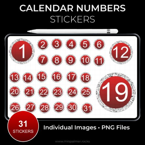 Calendar Numbers Stickers