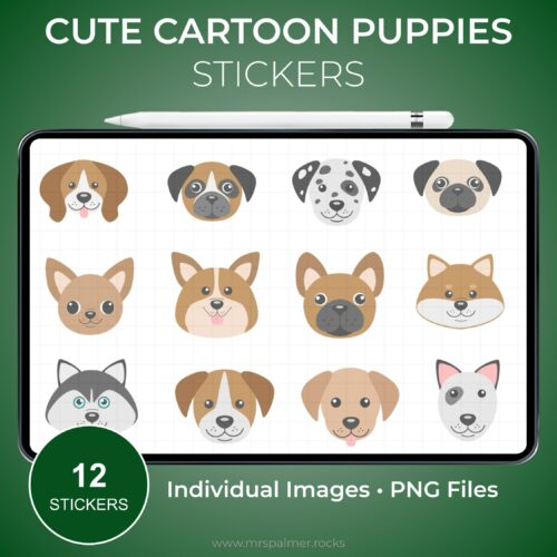 Cute Cartoon Puppies Stickers