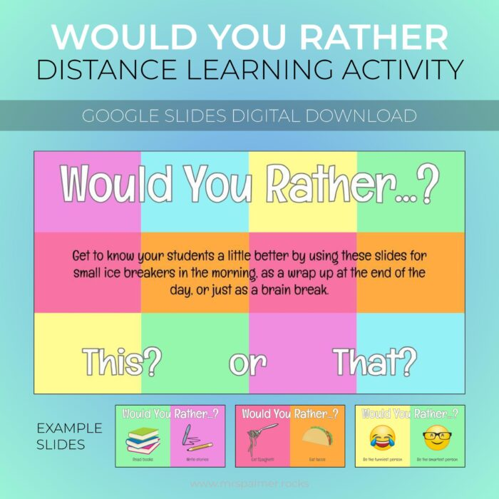 Would You Rather Distance Learning Activity