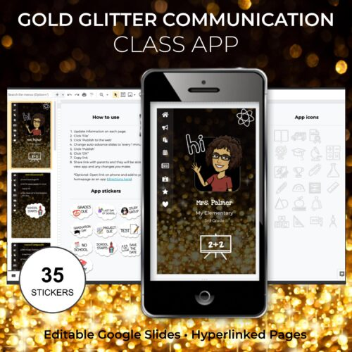 Gold Glitter Communication Class App