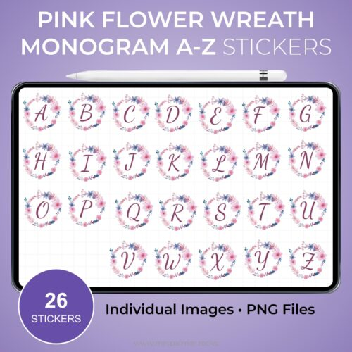 Pink Flower Wreath Monogram A-Z Stickers