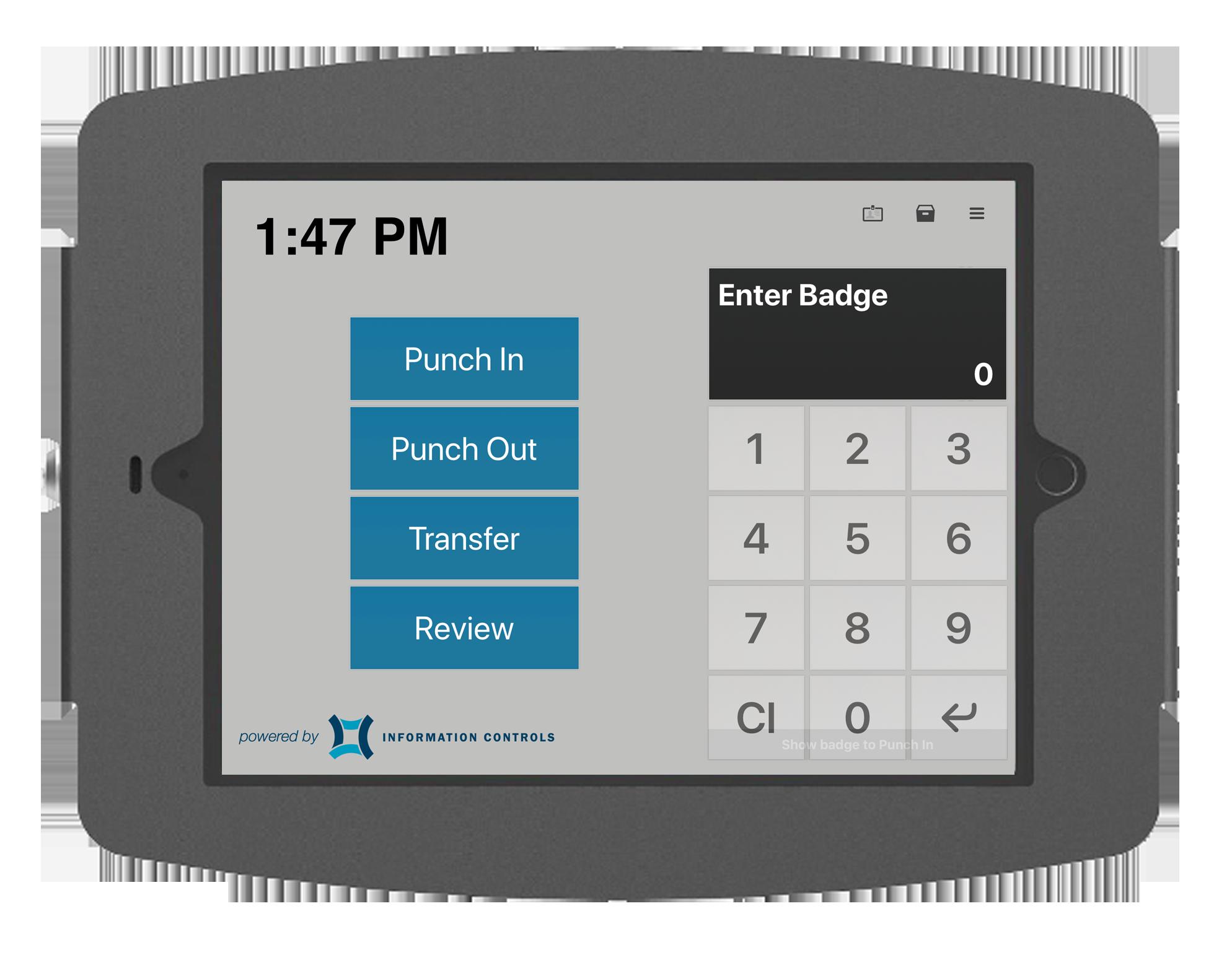 PIN Entry Time Clock - TimeTerminal PIN screen