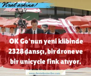 OK Go'nun yeni klibinde 2328 dansçı, bir drone ve bir Honda unicycle fink atıyor.