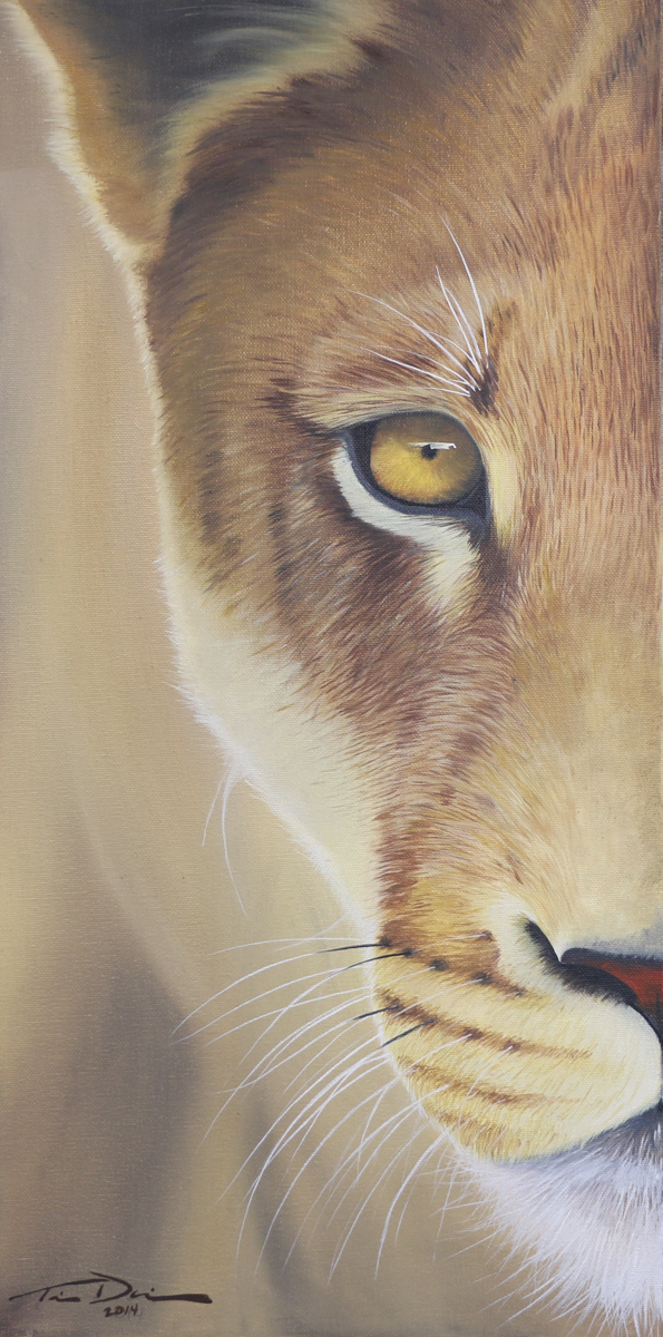 Half Lioness - Original oil painting by wildlife artist Timothy Davison of the Davison Art Company featuring a lioness close up, looking out at the viewer with one eye. © COPYRIGHT TIMOTHY DAVISON