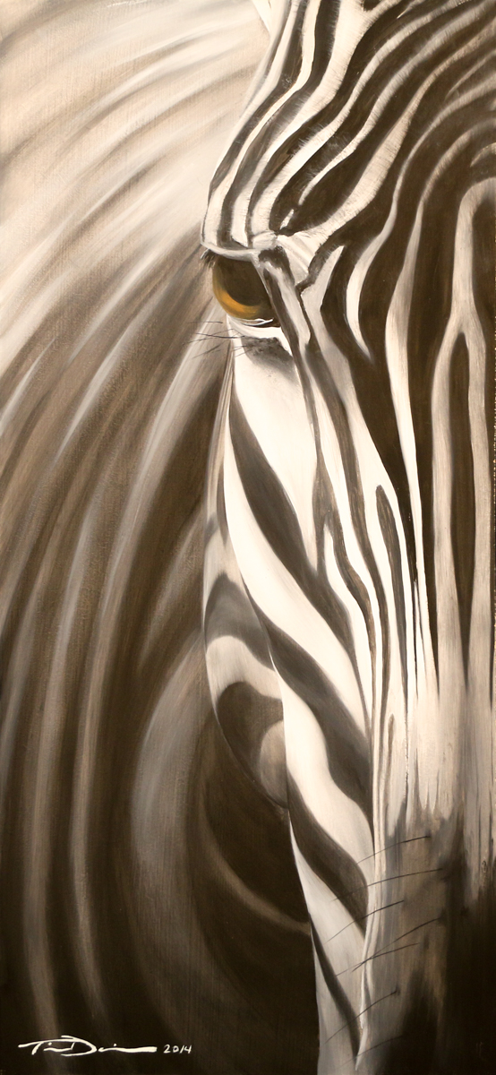 Half Zebra - Original oil painting by wildlife artist Timothy Davison of the Davison Art Company featuring a zebra close up, looking out at the viewer with one eye. © COPYRIGHT TIMOTHY DAVISON