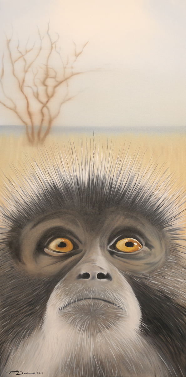 The Hopeful Vervet Monkey - Original oil painting by wildlife artist Timothy Davison of the Davison Art Company featuring a vervet monkey looking up towards the sky with an African plain in the background. © COPYRIGHT TIMOTHY DAVISON