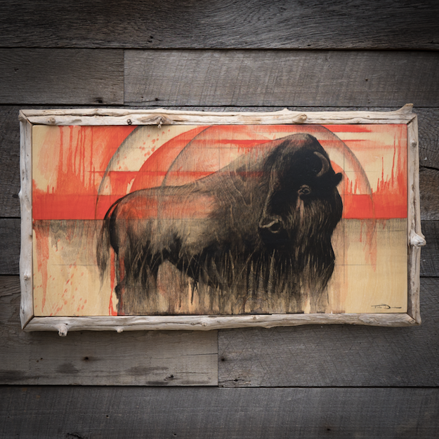 Bison Looking Back - Original oil painting by wildlife artist Timothy Davison of the Davison Art Company featuring an American bison with head turned, looking back at the bloody history of their species in modern history. Reference photo Custer State Park, South Dakota. This simple painting appears to come off the surface, revealing the wood grain beneath. Framed with a custom driftwood frame, wood from Yellowstone River in Wyoming. © COPYRIGHT TIMOTHY DAVISON