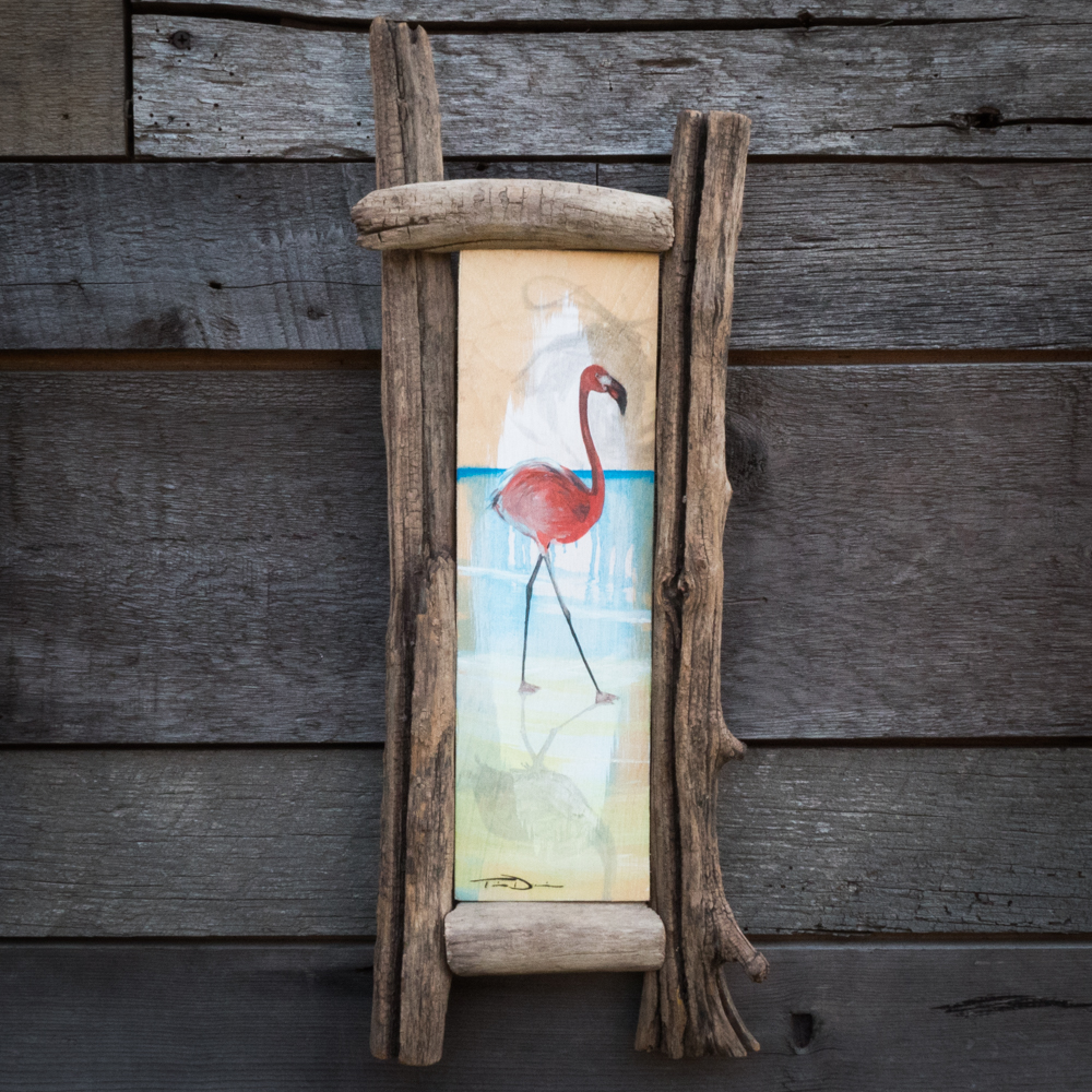 Flamingo Walking - Original oil painting by wildlife artist Timothy Davison of the Davison Art Company featuring a flamingo walking on the beach. This colorful painting appears to come off the surface, revealing the wood grain beneath. Framed with a custom driftwood frame. © COPYRIGHT TIMOTHY DAVISON