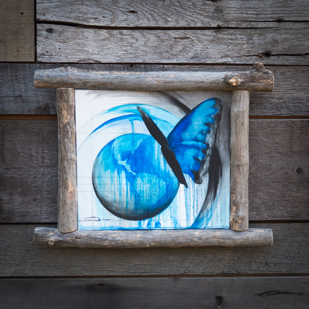 Blue Morpho and Planet Earth - Original oil painting by wildlife artist Timothy Davison of the Davison Art Company featuring a butterfly standing on top of our planet. This painting helped raise money for the Butterfly House and Aquarium in Sioux Falls, South Dakota. This simple painting appears to come off the surface, revealing the wood grain beneath. Framed with a custom driftwood frame. © COPYRIGHT TIMOTHY DAVISON