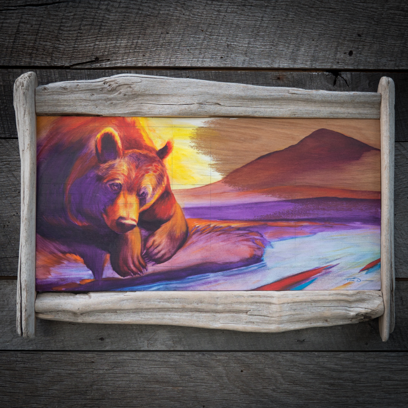 Salmon Grizzly - Original oil painting by wildlife artist Timothy Davison of the Davison Art Company featuring a grizzly bear looking into a river with abstracted salmon with a mountain sunset in the background. This colorful painting appears to come off the surface, revealing the wood grain below. Framed with a custom driftwood frame. © COPYRIGHT TIMOTHY DAVISON
