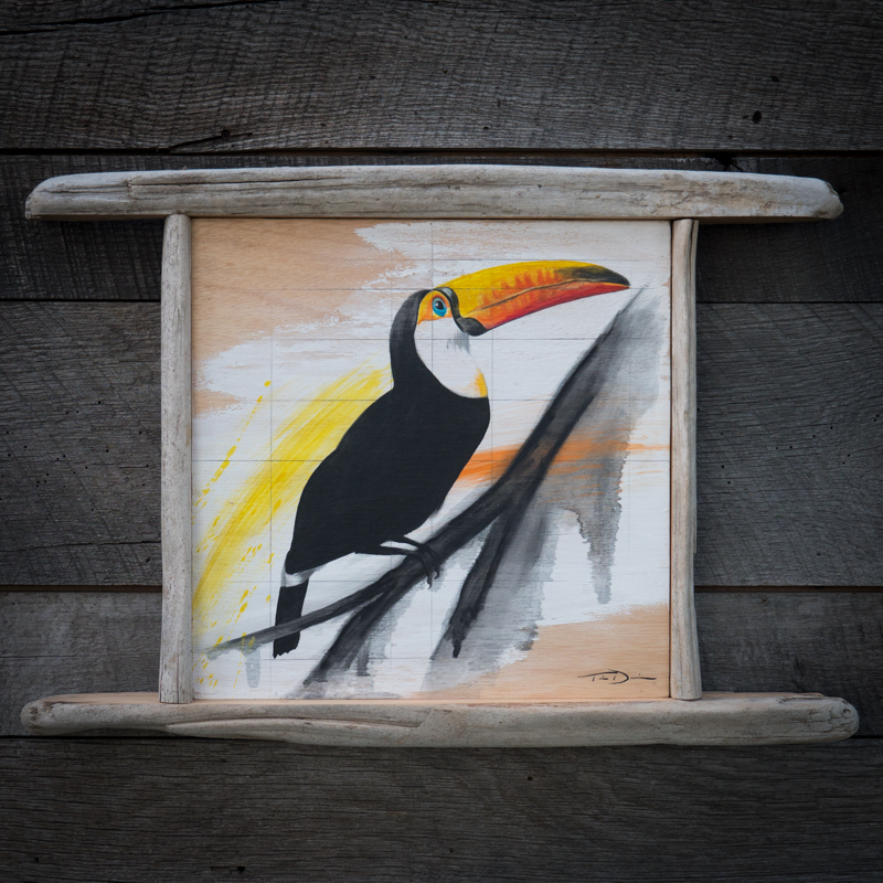 Toucan Do It - Original oil painting by wildlife artist Timothy Davison of the Davison Art Company featuring a toucan. This colorful painting appears to come off the surface, revealing the wood grain below. Framed with a custom driftwood frame. © COPYRIGHT TIMOTHY DAVISON
