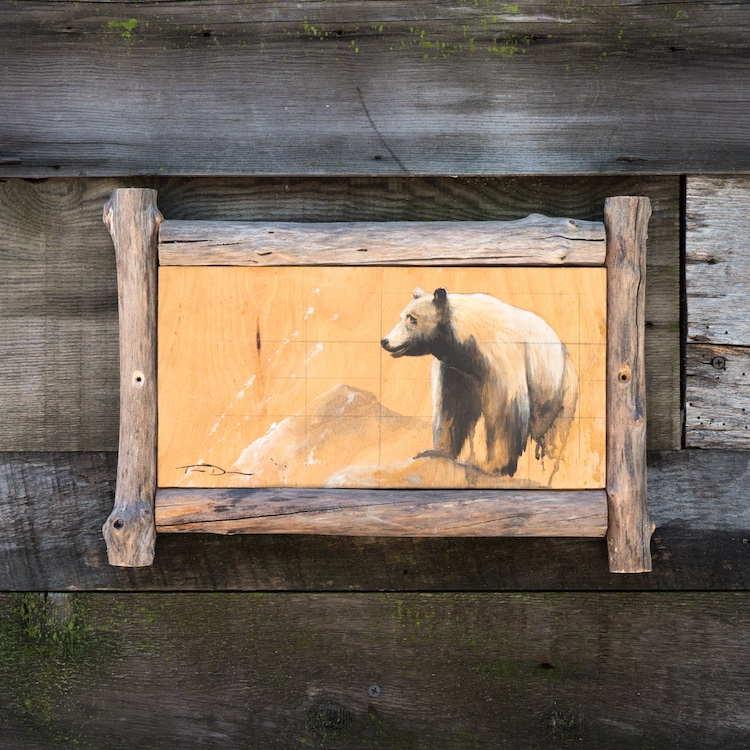 Sequoia Black Bear - Original painting by wildlife artist Timothy Davison of the Davison Art Company featuring a blonde black bear standing on a rock in Sequoia National Park. The reference photo was taken on the Tokopah Falls Trail. This black and white painting appears to come off the surface, revealing the wood grain below. Framed with a custom driftwood frame. © COPYRIGHT TIMOTHY DAVISON