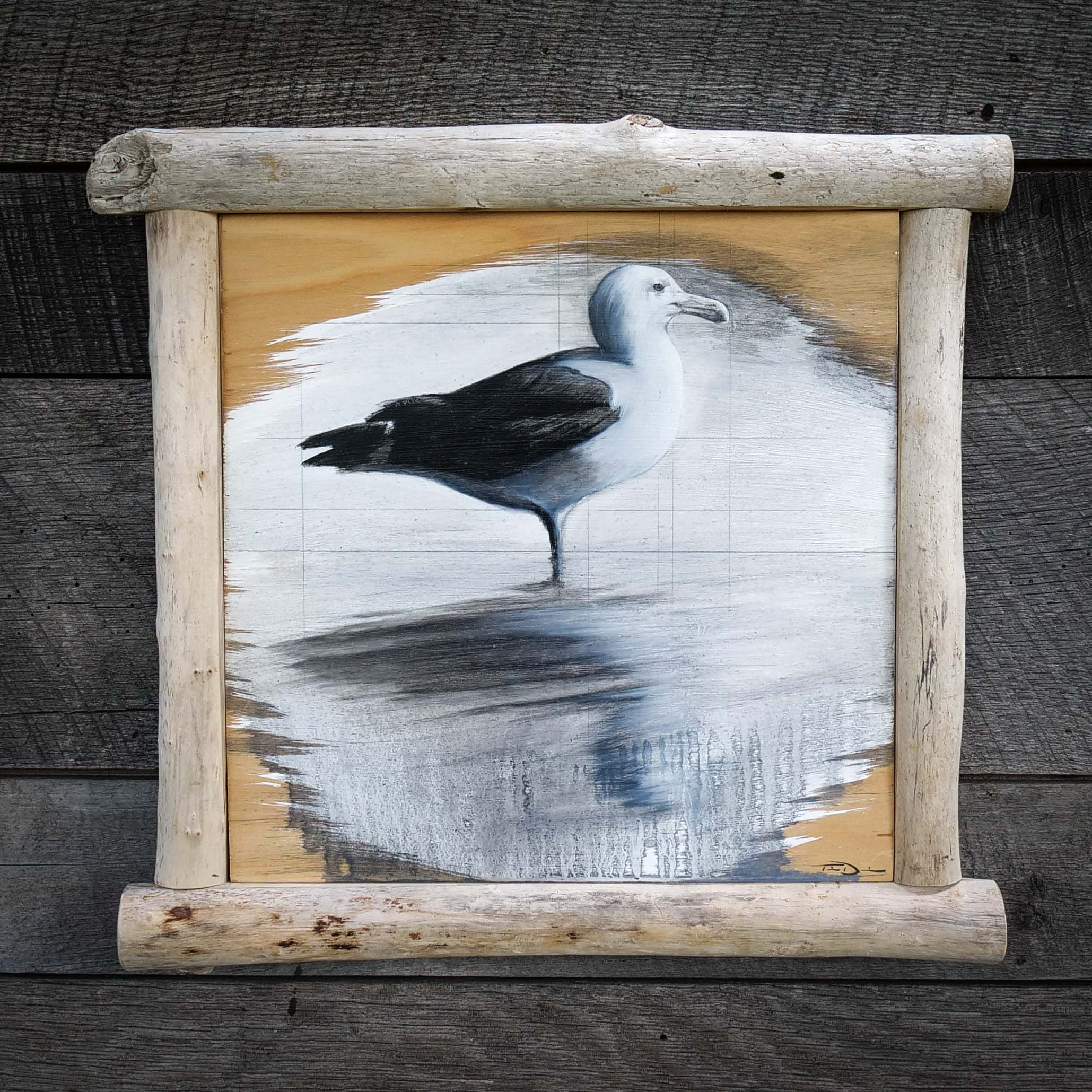 Gull Reflection - Original oil painting by wildlife artist Timothy Davison of the Davison Art Company featuring a gull standing in water with its reflection below. This black and white painting appears to come off the surface, revealing the wood grain below. Framed with a custom driftwood frame. © COPYRIGHT TIMOTHY DAVISON