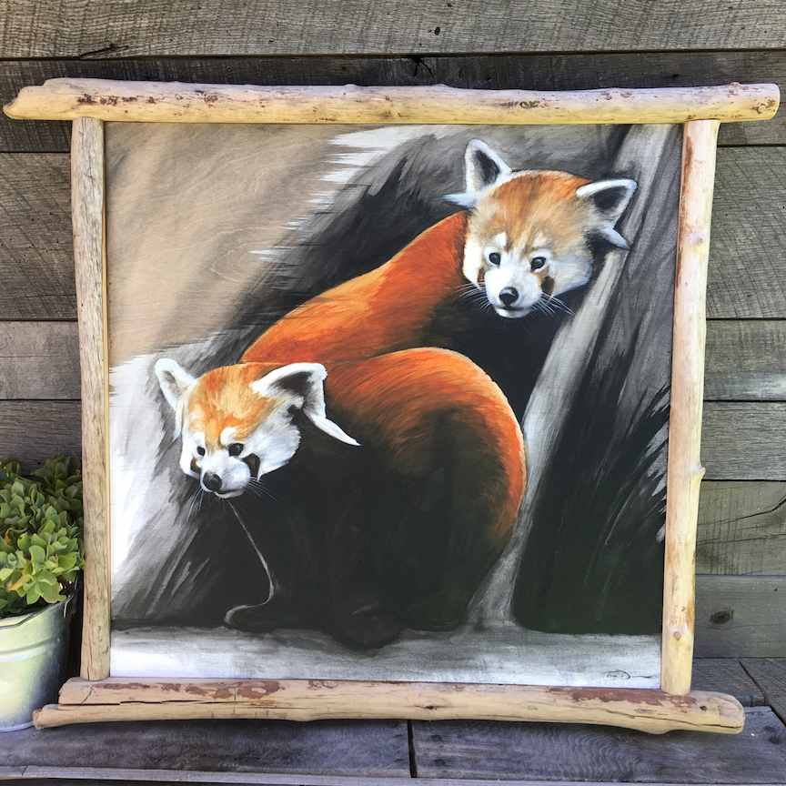 Two Red Pandas - Original oil painting by wildlife artist Timothy Davison of the Davison Art Company featuring two red pandas standing on a log. This colorful painting appears to come off the surface, revealing the wood grain below. Framed with a custom hardwood floating frame. © COPYRIGHT TIMOTHY DAVISON