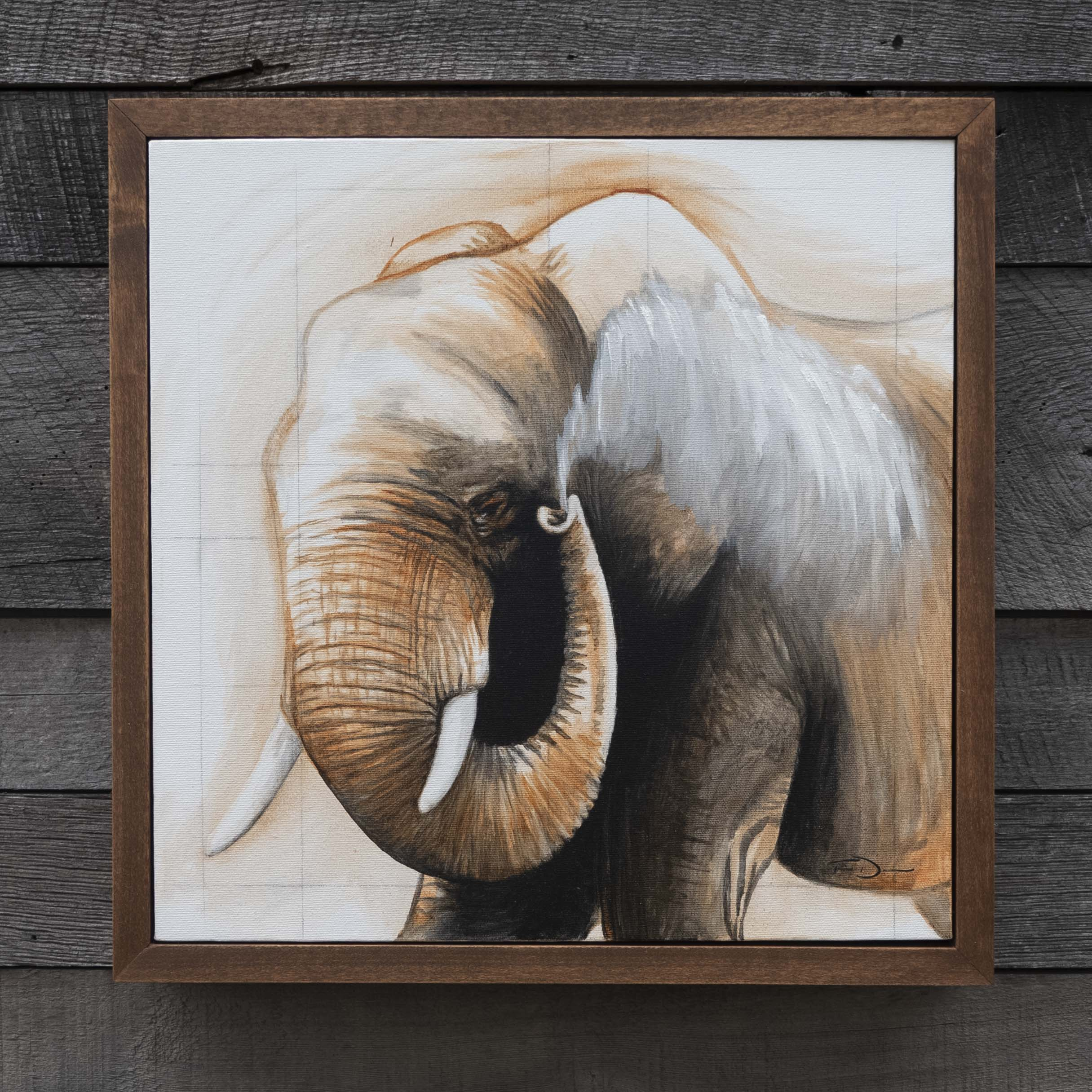 Dust Bath - Original oil painting by wildlife artist Timothy Davison of the Davison Art Company featuring an African elephant throwing dust on its back with its trunk. Framed in a custom hardwood floating frame. © COPYRIGHT TIMOTHY DAVISON