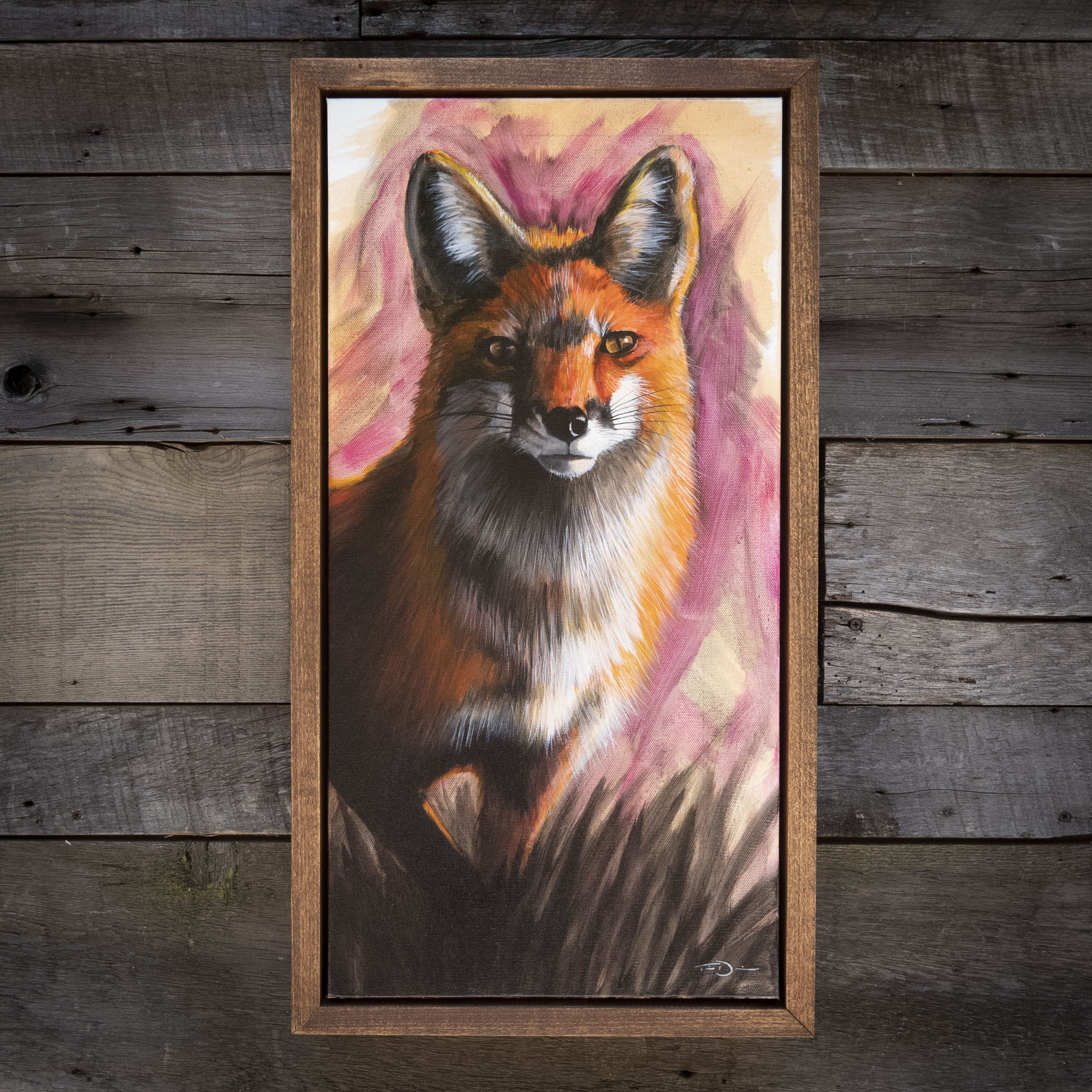 Golden Hour Fox - Original oil painting by wildlife artist Timothy Davison of the Davison Art Company featuring a red fox stepping out from grass at sunset, with purple, magenta, and orange. Framed in a custom hardwood floating frame. © COPYRIGHT TIMOTHY DAVISON