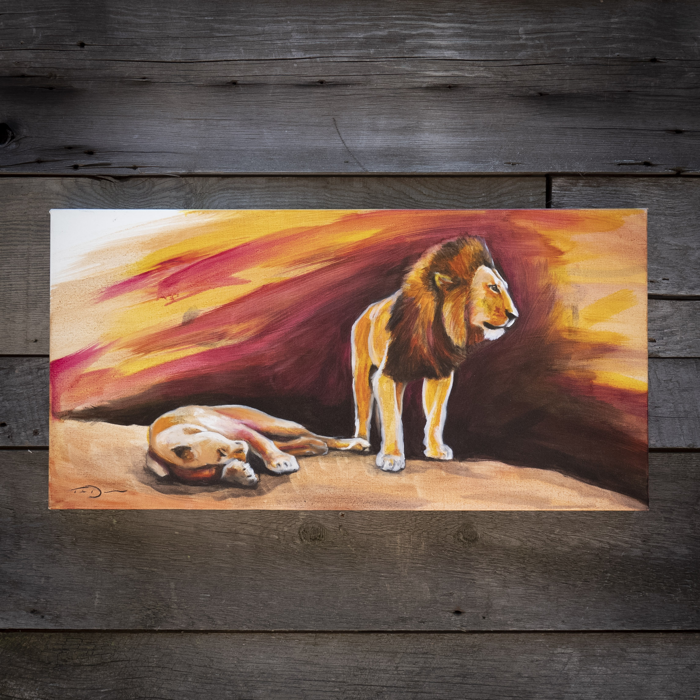 Lion Rock - Original oil painting by wildlife artist Timothy Davison of the Davison Art Company featuring a pair of mated lions on a rock in Kenya at sunset sunset, with purple, magenta, and orange. © COPYRIGHT TIMOTHY DAVISON