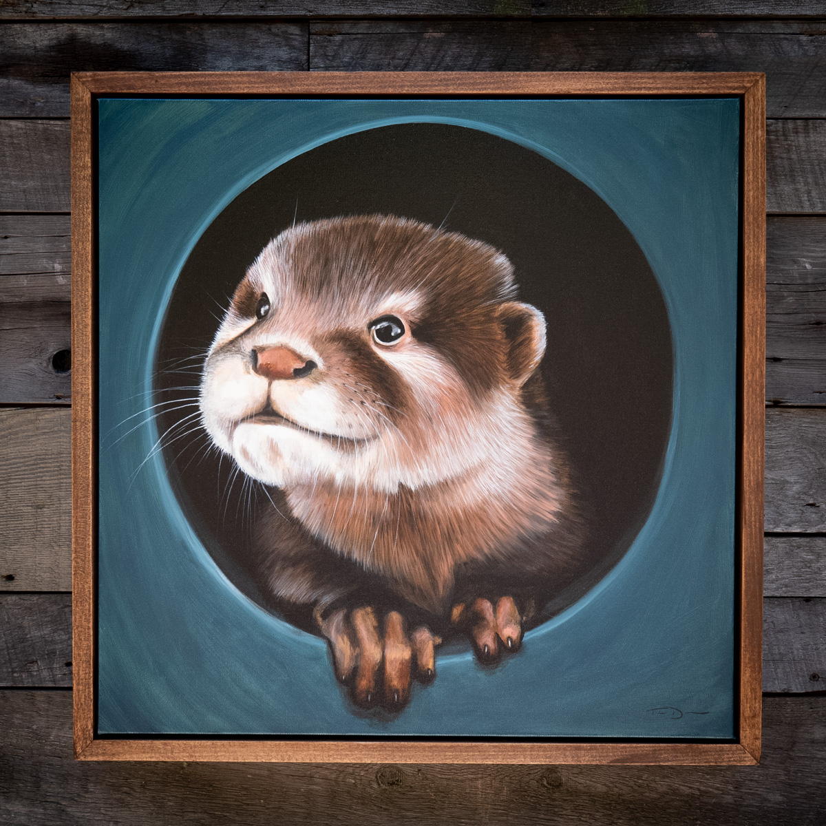 The Curious Otter - Original oil painting by wildlife artist Timothy Davison of the Davison Art Company featuring an asian small clawed otter looking out from a hole, creating a trompe l'oeil effect. Framed in a custom hardwood floating frame. © COPYRIGHT TIMOTHY DAVISON