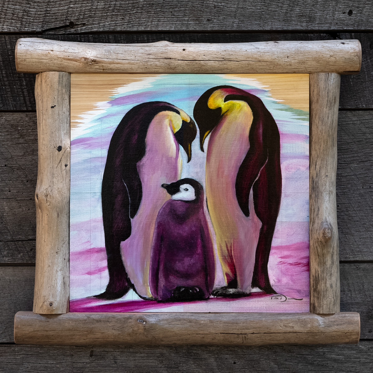 The Emperor's Family - Original oil painting by wildlife artist Timothy Davison of the Davison Art Company featuring a pair of mated emperor penguins looking at their chick at sunset, with blues, magenta, and golden yellow. Framed with a custom driftwood frame. © COPYRIGHT TIMOTHY DAVISON